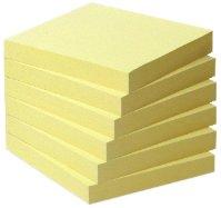 Post-it Recycling Notes 6541B – Selbstklebende Haftnotizzettel aus Recycling Papier in 76 x 76 mm – 6 Notizblöcke à 100 Blatt in Gelb