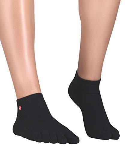 Knitido Track & Trail Ultralite Fresh Zehensocken-Sneaker Unisex, Größe:39-42, Farbe:Schwarz