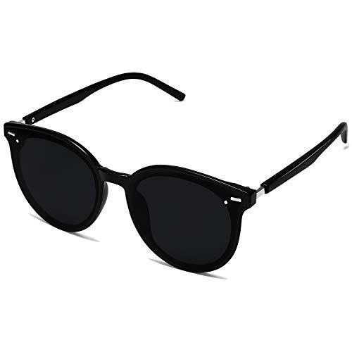 SOJOS Klassisch Retro Runde Sonnenbrille Damen Herren Groß Brille SJ2067 mit Schwarz Rahmen/Schwarz Linse