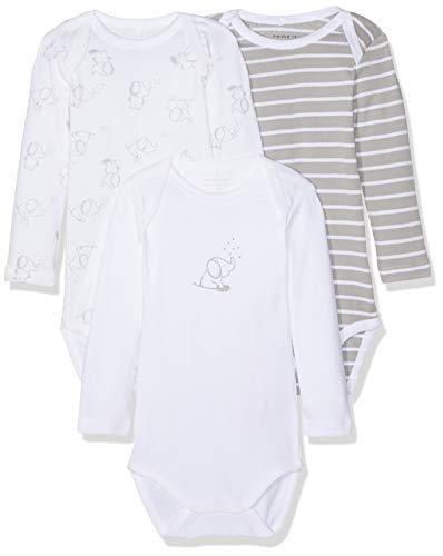 NAME IT Unisex Baby Strampler NBNBODY 3P LS NOOS, 3er Pack, Mehrfarbig (Alloy), 50