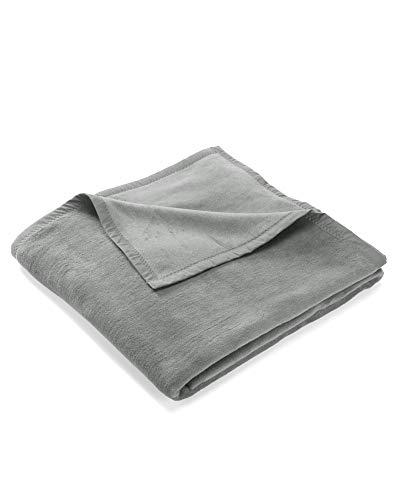 myHomery Uni Kuscheldecke aus Baumwolle - Decke fürs Sofa - Wolldecke warm & kuschelig - Sofadecke XL Anthrazit | 150x200 cm
