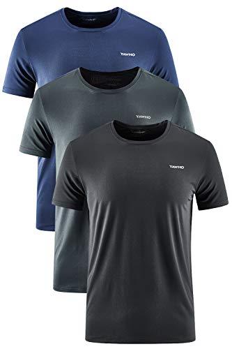 YAWHO Herren Sport T-Shirt 1 Bis 3er Pack Kurzarm Rundhals Atmungsaktiv Schnelltrocknendes Funktionsshirt Laufshirt Fitnessshirt Trainingsshirt für Running Workout Bodybuilding Gym (3 Pack 0225, L)