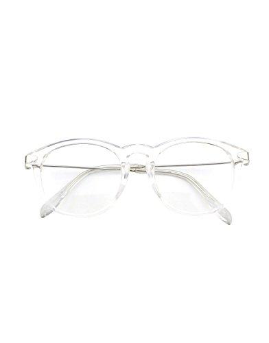 CN88 Klassische Nerdbrille rund Keyhole 40er 50er Jahre Pantobrille Vintage Look clear lens, Transparent, 47