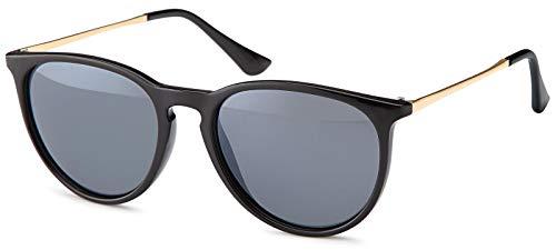 styleBREAKER Sonnenbrille mit großen ovalen Gläsern und Metall Bügel, Damen 09020085, Farbe:Gestell Schwarz/Glas Grau getönt