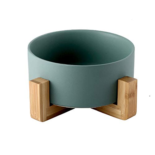 H&1 Keramik Katzennapf, Haustierfutter Wasser Feeder mit No Spill Holzständer Triangular Raised Durable Steingut Teller für Small Medium Hunde und Katzen,Green