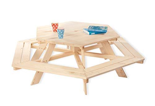 Pinolino Kindersitzgarnitur Nicki 6-Eck, aus massivem Holz, 6 Bänke mit 1 Tisch, empfohlen für Kinder ab 2 Jahren, natur