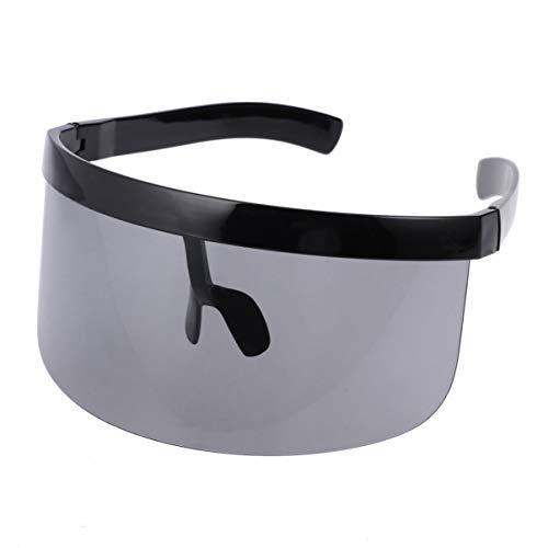 VORCOOL, Übergröße futuristische Schild-Sonnenbrille, flache Oberseite, verspiegelt, Unisex, winddicht, Sonnenschutz für Männer Frauen, Outdoor-Sport (schwarz)