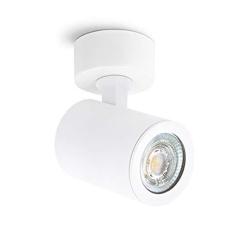 linovum TENJO Deckenspot Wandstrahler schwenkbar weiß rund mit GU10 LED 3W warmweiß - 230V Strahler Innen Decke Wand drehbar