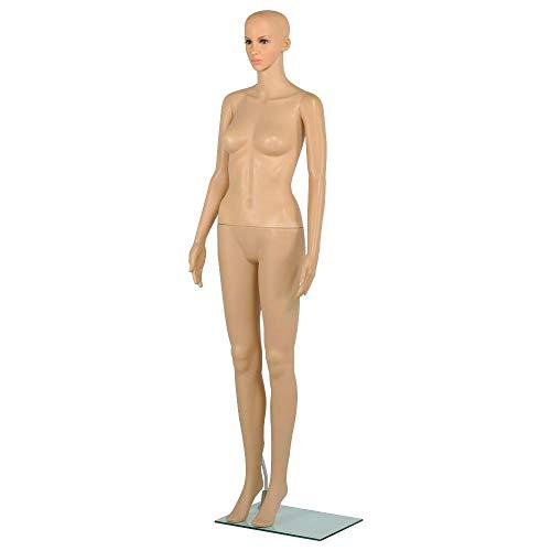 Yaheetech Schaufensterpuppe weiblich Mannequin mit Kopf, 175cm zerlegbar 360° beweglich