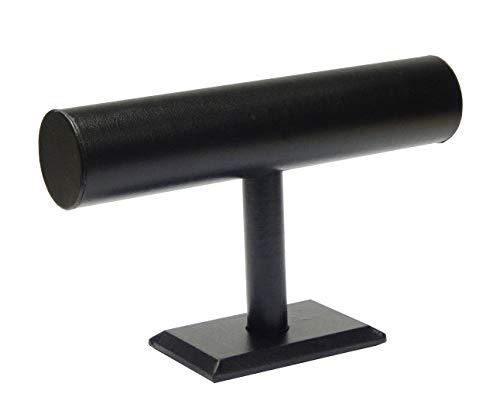Perlin - Armbandhalter Schwarz Kuntsleder Schmuckständer Schmuckhalter Armbandständer T-Stange Uhrenständer Armreifhalter T30