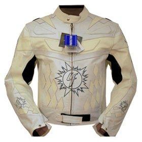 4LIMIT Sports Motorradjacke Leder 4RACING Biker Motorrad Jacke Lederjacke weiß