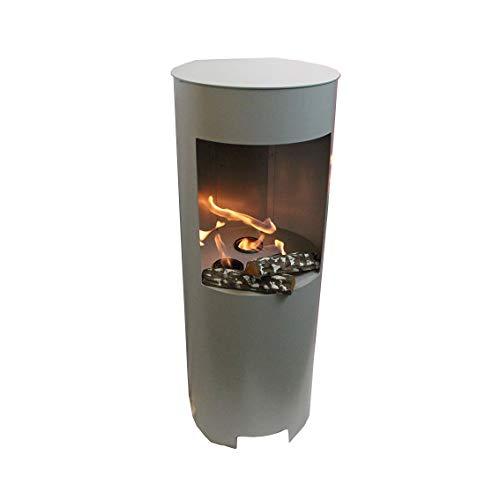 Ethanolkamin Gelkamin Höhe:100cm / Breite:37cm / Tiefe: 35 cm/freistehende Säule Kamin Silber Inklusive: 3 x Brennstoff-Behälter/Betrieb mit Bioethanol oder Brenngel