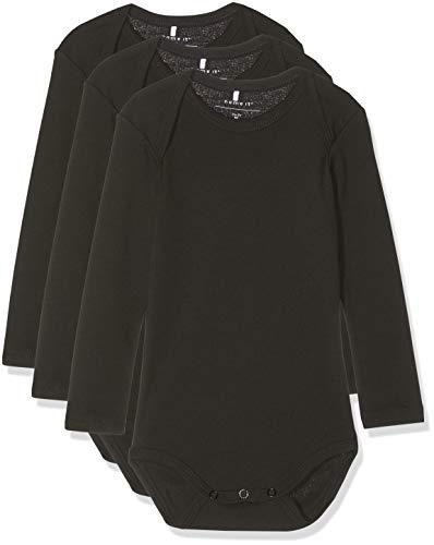 NAME IT Unisex Baby Strampler NBNBODY 3P LS SOLID Black NOOS, 3er Pack, Schwarz (Schwarz Black), 80