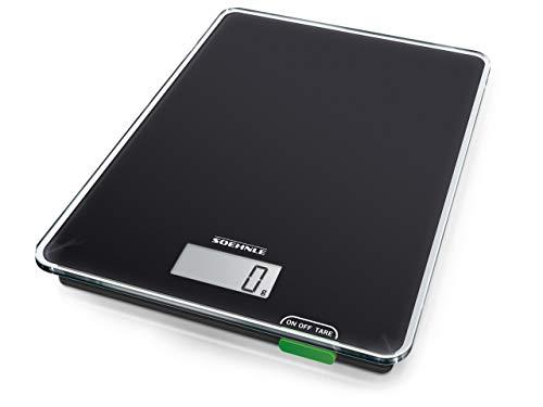 Soehnle Page Compact 100, digitale Küchenwaage, schwarz, Gewicht bis zu 5 kg (1-g-genau), Haushaltswaage mit praktischer Zuwiegefunktion, elektronische Waage inkl. Batterien, kompakte Größe