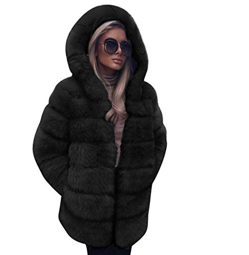 Tomatoa-Top Damen Mantel Jacke Frauen Steppjacke Outwear Elegant Warm Faux Fur Kunstfell Jacke Kapuzenpullover Outwear Lange Ärmel Einfarbig Winterjacke