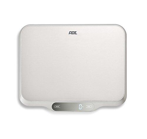 ADE Digitale Küchenwaage KE 1601 Ladina. Elektronische Waage mit XXL Wiegefläche aus Edelstahl für präzises Wiegen bis 15 kg. Mit Zuwiegefunktion (Tara), Auto-Hold. Inkl. Batterie. Silber