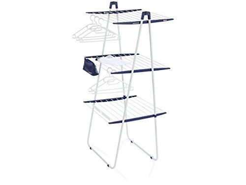 Leifheit Turmtrockner Pegasus Tower 200 Deluxe, kompakter Wäscheständer, Turmwäschetrockner mit 3 Trockenebenen, Standtrockner mit abklappbarer Ebene