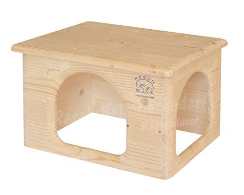 Resch Nr23 Meerschweinchenhaus naturbelassenes Massivholz aus Fichte/Platzsparendes Haus mit Zwei großen EIN-/Ausgängen 31x19x21 (LxHxB)