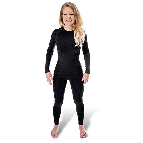 Black Snake® Funktionsunterwäsche Damen Thermo Unterwäsche Lange Unterhose + Langarm Unterhemd Seamless - S/M - Schwarz