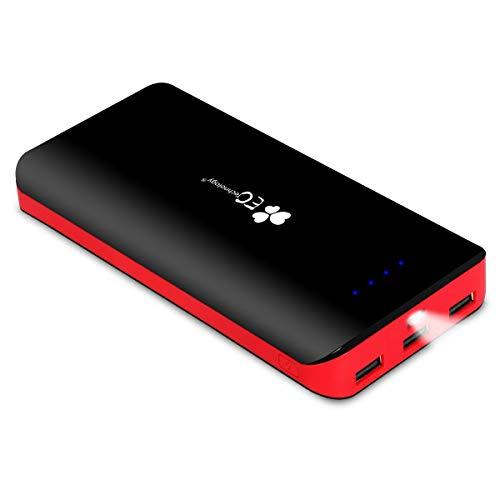 EC Technology Powerbank 22400 mAh Externer Akku mit 3 USB, Auto IC Ausgangen Hohe Kapazitat Eingang Port Tragbar Power Bank kompatibel mit Smartphones und andere Tablet Schwarz/Rot