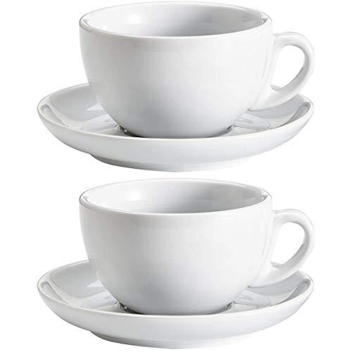 Viva-Haushaltswaren 2 dickwandige große Cappuccinotassen aus weißem Porzellan 0,28l in 2. Wahl