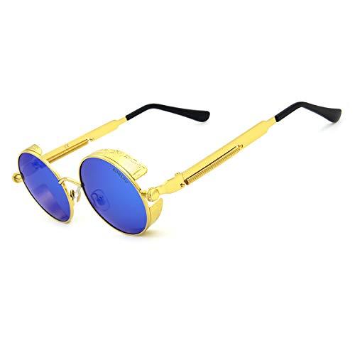 RONSOU Steampunk Stil Rund Vintage Polarisiert Sonnenbrillen Retro Brillen UV400 Schutz Metall Rahmen gold rahmen/blau linse