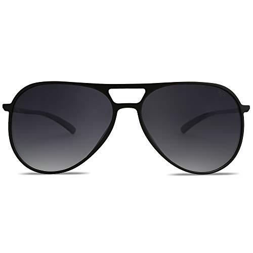 SOJOS Handgemacht Ultra Leicht Super Elastisch TR90 Pilot Damen Herren Sonnenbrille Polarisiert SJ2065 mit Schwarz Rahmen/Grau Linse
