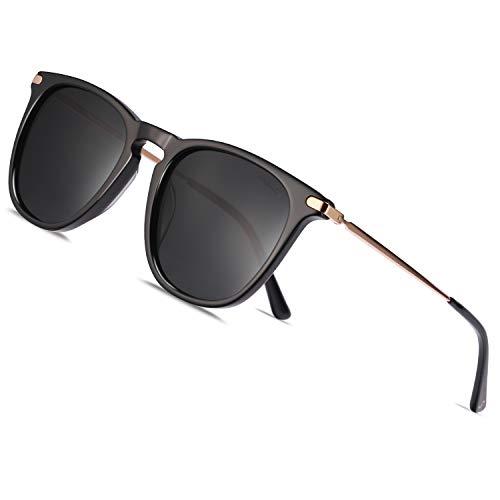 TSEBAN Vintage Damen Sonnenbrille Polarisierte Frauen Brille, Acetat-Rahmen & UV 400 Schutz,Schwarz,Einheitsgröße