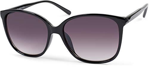 styleBREAKER Damen Sonnenbrille Oversize mit ovalen Polycarbonat Gläsern und Kunststoff Gestell, Retro Style 09020092, Farbe:Gestell Schwarz / Glas Grau Verlauf