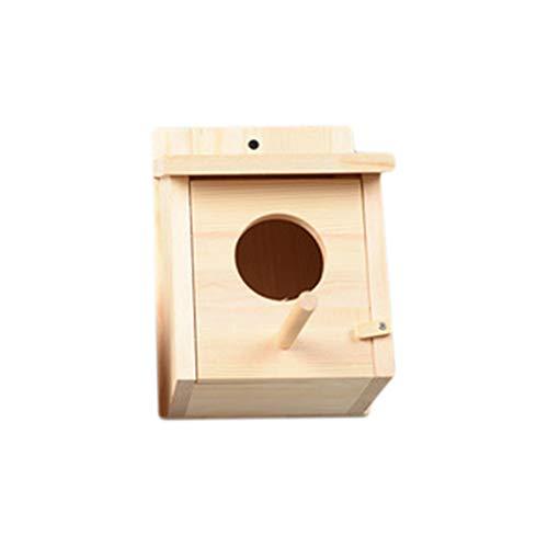 Toporchid Wandbehang Vogelnest Holzvogelhaus für die Inneneinrichtung im Freien Feeder Birdhouse Crafts für Heimtierbedarf, (Holzfarbe)