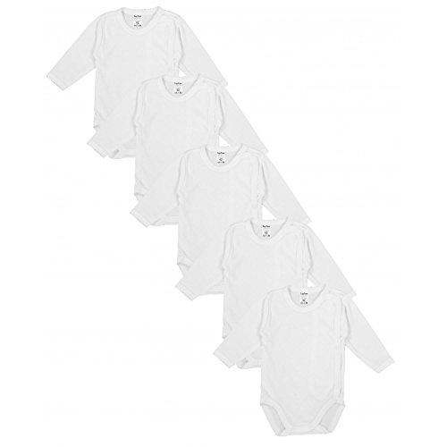 TupTam Unisex Baby Langarm Wickelbody aus Baumwolle 5er Set, Farbe: Weiß, Größe: 62