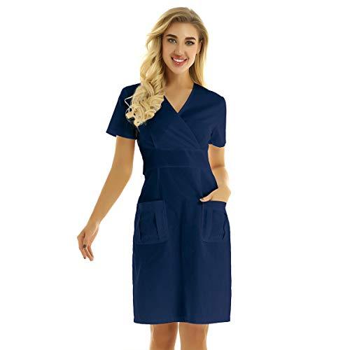 FEESHOW Damen Medical Kleidung Arzt Krankenschwester Uniform Kleid Krankenhaus Service Berufskleidung Navy blau XXL