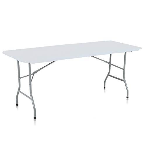Strattore Campingtisch Bierzelttisch Gartentisch Buffettisch Esstisch Partytisch klappbar mit Tragegriff aus Kunststoff - 180 x 70 x 74 cm in Weiß