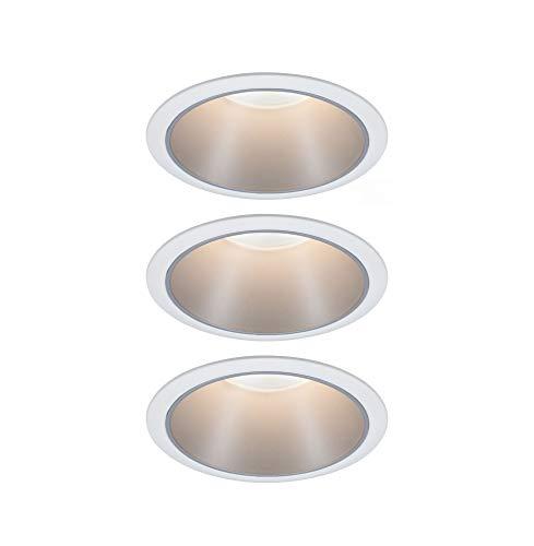 Paulmann 93410 LED Einbauleuchte Cole rund incl. 3x6,5 Watt dimmbar Einbaustrahler Weiß, Silber Einbaulampe Kunststoff, Alu Zink Deckenspot 2700 K