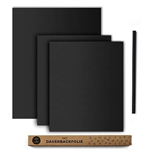 tastory® 3er Set I Schwarze Dauerbackfolie für Backofen inkl. Hitzeschutzleiste I (40x33cm & 50x40cm) Backpapier wiederverwendbar spülmaschinenfest & bpa frei I Backmatte, Backfolie, Dauerbackmatte