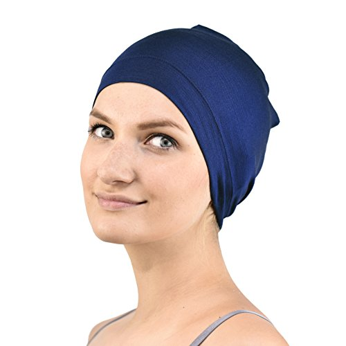 Jasmine Silk Bambus Schlaf Cap - Geeignet für Chemo & Haarausfall - Cardani Chemo Krebs -Hut (Marine)