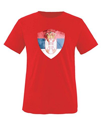 Comedy Shirts - Serbien Trikot - Wappen: Groß - Wunsch - Kinder T-Shirt - Rot/Weiss Gr. 110-116