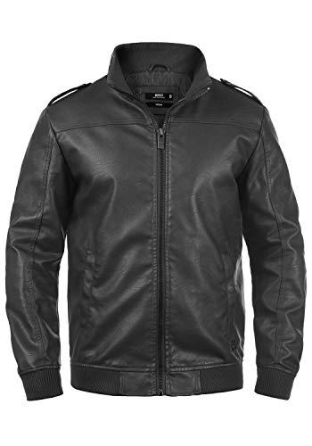 Indicode Conway Herren Lederjacke Bikerjacke Kunstleder, Größe:XXL, Farbe:Dark Grey (910)