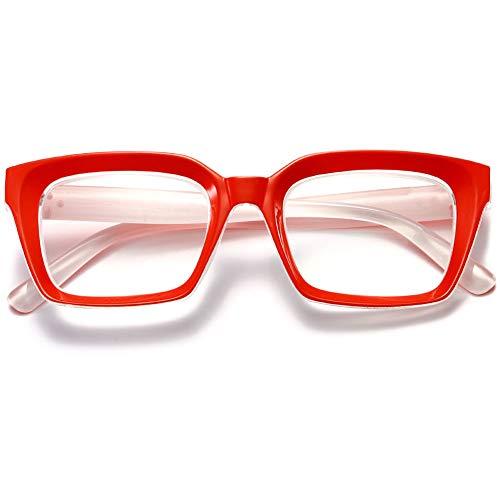 KOOSUFA Retro Lesebrille Damen Herren Lesehilfen Sehhilfe Vollrandbrille Arbeitsplatzbrille Anti Müdigkeit Brille Dicker Rahmen 1.0 1.25 1.5 1.75 2.0 2.25 2.5 2.75 3.0 3.5 4.0 (Rot, 3.0)
