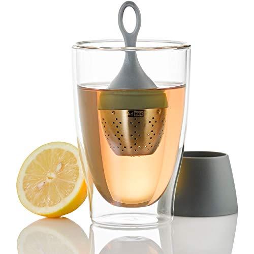 AdHoc Teefilter Floatea, Tee-Ei Schwimmend, Filter, Tee Sieb, Teesieb, Edelstahl/Kunststoff, 12.5 cm, Grau, TE16