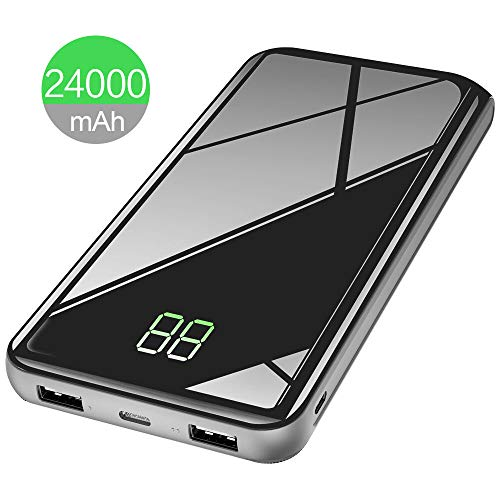 X-DRAGON Powerbank 24000mAh Externer Akku Handy Ladegerät mit USB C & Micro Input, Digi-Power Display für iPhone X/8/8 Plus/7/6s Plus, iPad, Smartphone, Huawei, Samsung und Tablet