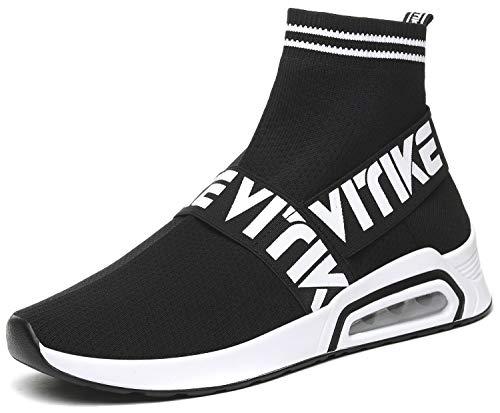 Elaphurus Damen Leichte Turnschuhe Slip-on Walking Schuhe Socks Schuhe Mode Sneaker Herren Hallenschuhe Kinder Sneaker, 1 Schwarz, 39 EU