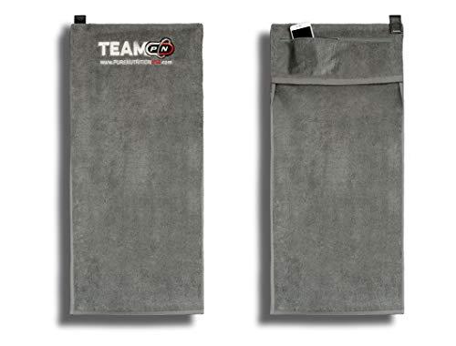 P N Sport Fitness Towel 100% Baumwolle Sporthandtüch Fitnesshandtuch Gym Handtuch|90x40 cm mit 20 cm Tasche und Zip Magnetclip rutschfest|Perfekt Für Fitnessstudio Reise Sauna Camping Badetuch
