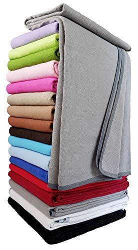 STTS International Baumwolldecke Wohndecke Kuscheldecke Tagesdecke 100% Baumwolle sehr weiches Plaid Korsika 150 x 205 cm Grau