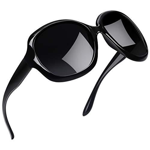 Joopin Sonnenbrille Damen Polarisiert UV400 Schutz Übergroß Klassisch Vintage Brille mit Großer Rahmen(Schwarz)