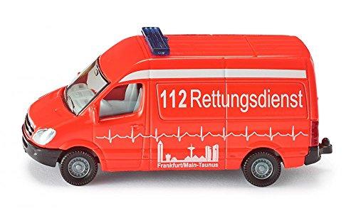siku 0805, Krankenwagen, Metall/Kunststoff, rot, Bereifung aus Gummi, Spielzeugfahrzeug für Kinder