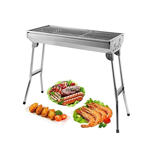 AGM Holzkohlegrill Camping Grill Holzkohle,Klappgrill Tragbarer Grill,Für Camping Garten Picknick Party,68x 32x 73 cm,für 5-10 Personen