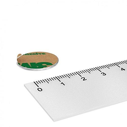10 x Neodym Scheiben Magnet, 20 x 1 mm, vernickelt, selbstklebend durch Klebefolie, Grade N35, Klebemagnet