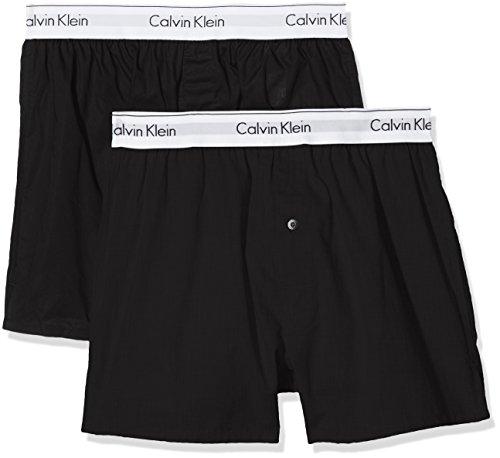 Calvin Klein Herren 2p Slim Fit Boxer Hüft-Shorts, Schwarz (Black/Black 001), S (2er Pack)