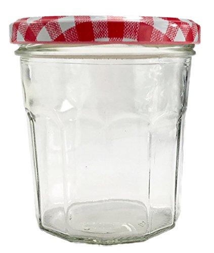 Nutley's 324ml Glas, Einmachglas mit Weithals mit Gingham-Deckel, klar - Rot (12Stück)